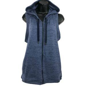 Athleta Blissful Balance Vest Hooded Blue Full Zip